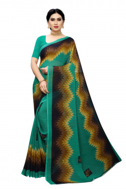 Green Festive Wear Printed Saree