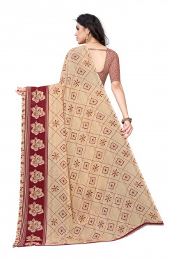 Cream Festive Wear Printed Saree