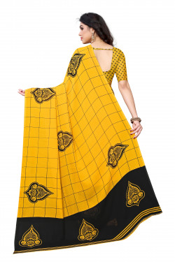 Mustard Festive Wear Printed Saree