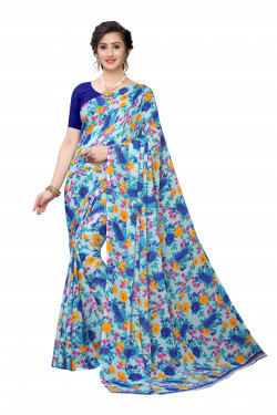 Light Blue Festive wear Printed Saree