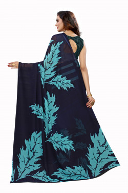 Navy Blue Festive wear Printed Saree