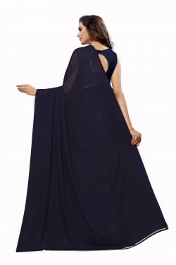 Navy Blue Festive wear half and half Saree