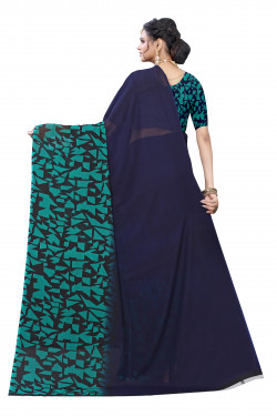 Dark Blue Festive wear Printed Saree