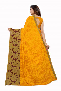 Yellow Festive wear Printed Saree
