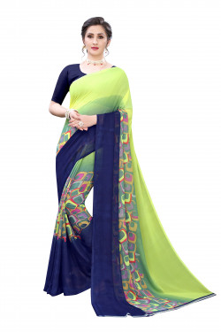 Multi color Festive wear half and half Printed Saree