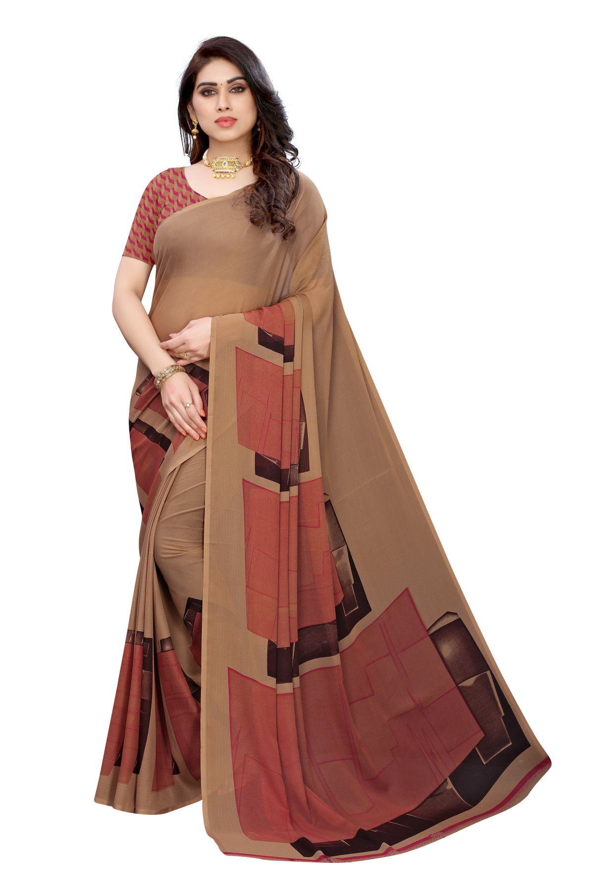 Brown Festive Wear Printed saree