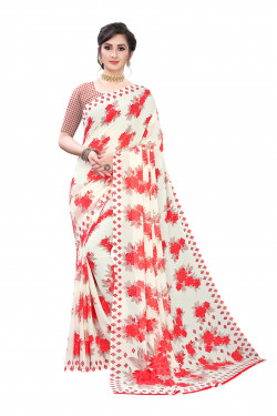 Off white Red floral Printed Festive Wear Saree