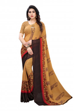 Light Brown Festive Wear Printed Saree