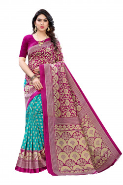 Art Silk Sarees - Buy Designer Blue Printed Art Sarees For Womens Online in India | Ethnicbazaar