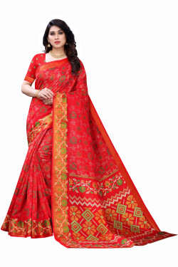 Satin Patta Sarees - Buy Designer Red Printed Satin Patta Sarees For Womens Online in India | Ethnicbazaar