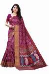 Satin Patta Sarees - Buy Designer Wine Printed Satin Patta Sarees For Womens Online in India | Ethnicbazaar