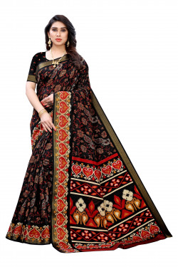 Satin Patta Sarees - Buy Designer Black Printed Satin Patta Sarees For Womens Online in India | Ethnicbazaar