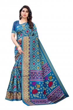 Satin Patta Sarees - Buy Designer Blue Printed Satin Patta Sarees For Womens Online in India | Ethnicbazaar