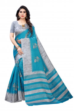 Khadi Sarees - Buy Designer Turquoise Printed Art Sarees For Womens Online in India | Ethnicbazaar