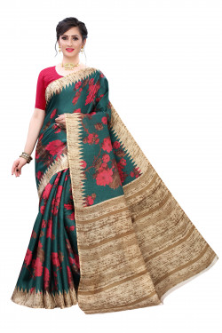 Khadi Sarees - Buy Designer Green Printed Art Sarees For Womens Online in India | Ethnicbazaar