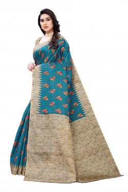 Khadi Sarees - Buy Designer Rama Green Printed Art Sarees For Womens Online in India | Ethnicbazaar