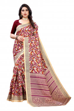 Khadi Sarees - Buy Designer Cream Printed Art Sarees For Womens Online in India | Ethnicbazaar