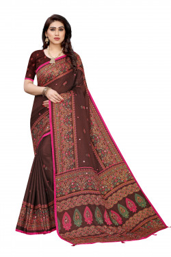 Linen Sarees - Buy Designer Brown Printed Linen Sarees For Womens Online in India | Ethnicbazaar