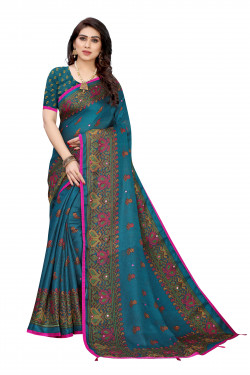Linen Sarees - Buy Designer Aqua Printed Linen Sarees For Womens Online in India | Ethnicbazaar