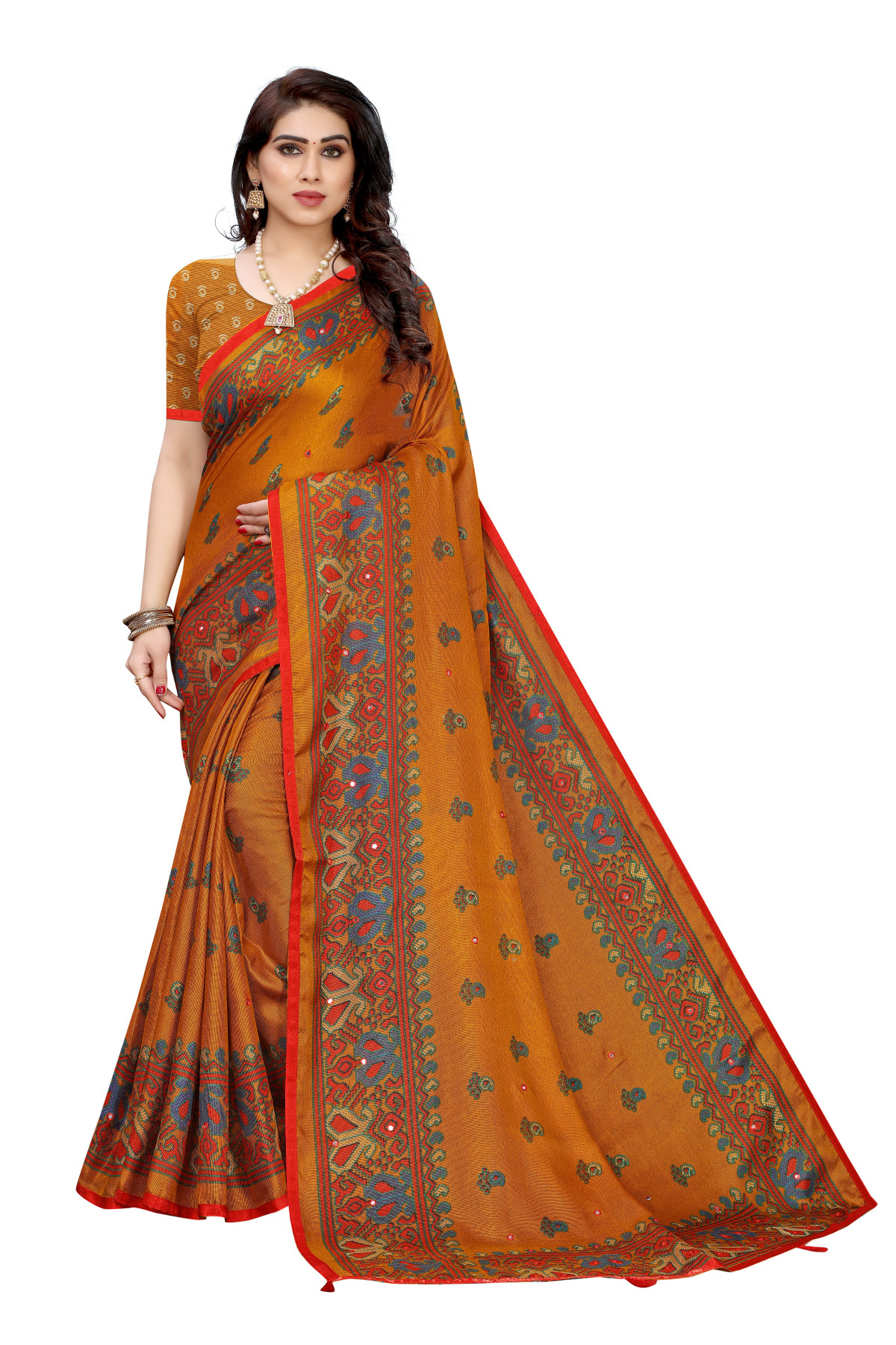 Linen Sarees - Buy Designer Orange Printed Linen Sarees For Womens Online in India | Ethnicbazaar