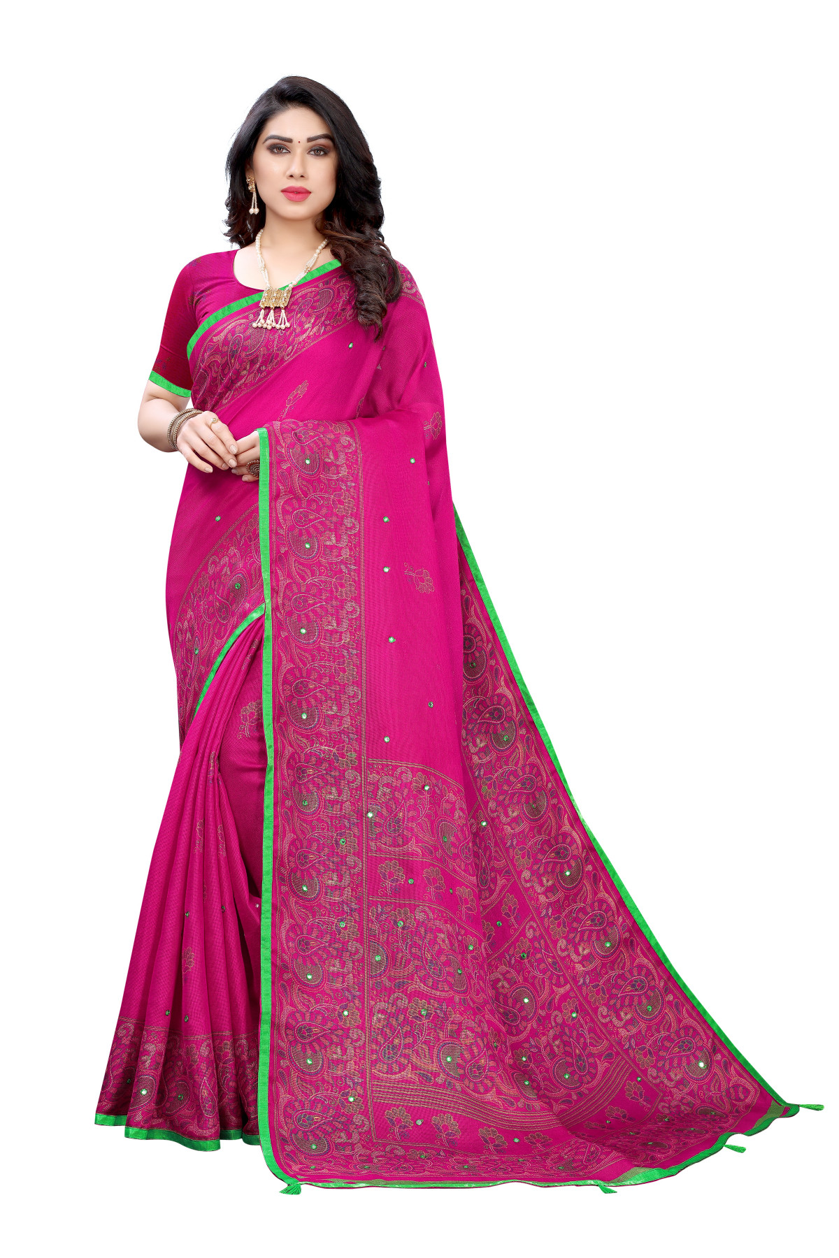 Linen Sarees - Buy Designer Pink Printed Linen Sarees For Womens Online in India | Ethnicbazaar