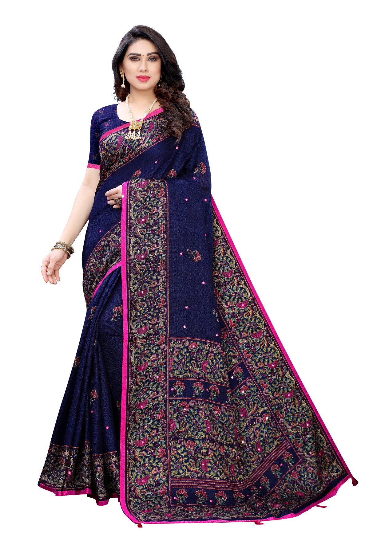 Linen Sarees - Buy Designer Navy Blue Printed Linen Sarees For Womens Online in India | Ethnicbazaar