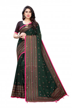 Linen Sarees - Buy Designer Dark Green Printed Linen Sarees For Womens Online in India | Ethnicbazaar