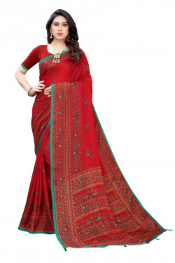 Linen Sarees - Buy Designer Red Printed Linen Sarees For Womens Online in India | Ethnicbazaar