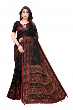 Linen Sarees - Buy Designer Black Printed Linen Sarees For Womens Online in India | Ethnicbazaar