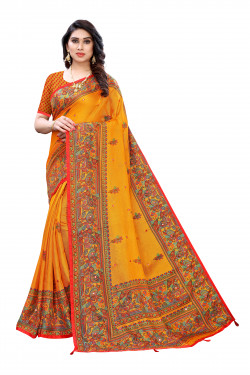 Linen Sarees - Buy Designer Yellow Printed Linen Sarees For Womens Online in India | Ethnicbazaar