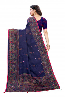 Linen Sarees - Buy Designer Royal Blue Printed Linen Sarees For Womens Online in India | Ethnicbazaar