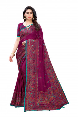 Linen Sarees - Buy Designer Purple Printed Linen Sarees For Womens Online in India | Ethnicbazaar