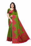 Linen Sarees - Buy Designer Green Printed Linen Sarees For Womens Online in India | Ethnicbazaar