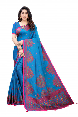 Linen Sarees - Buy Designer Blue Printed Linen Sarees For Womens Online in India | Ethnicbazaar
