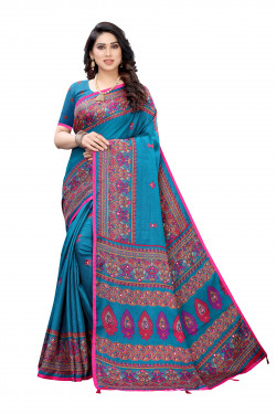 Linen Sarees - Buy Designer Light Blue Printed Linen Sarees For Womens Online in India | Ethnicbazaar