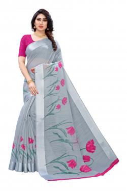 Satin Sarees - Buy Designer Grey Printed Satin Sarees For Womens Online in India | Ethnicbazaar