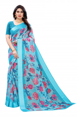 Satin Sarees - Buy Designer Light Blue Printed Satin Sarees For Womens Online in India | Ethnicbazaar