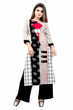 Womens Ethnic Wear Online - Buy Latest Ethnic Wear Cotton blend Off White Kurta with Palazzo in India | Ethnicbazaar