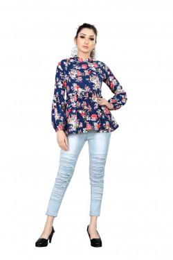Womens Western Wear Online - Buy Latest Western Wear Navy Blue Tops in India | Ethnicbazaar