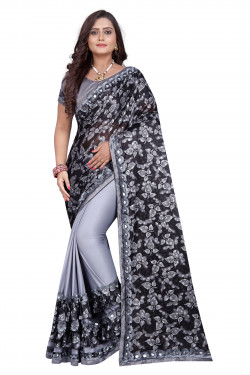 Buy Designer Gray Lycra Blend Sarees For Womens Online in India at Ethnic Bazaar