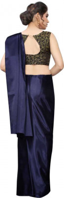 Buy Designer Navy Blue Satin Sarees For Womens Online in India at Ethnic Bazaar
