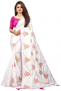 Buy Designer White Georgette Sarees For Womens Online in India at Ethnic Bazaar