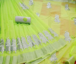 Buy Designer Green Sun Chanderi Sarees For Womens Online in India| Ethnicbazaar