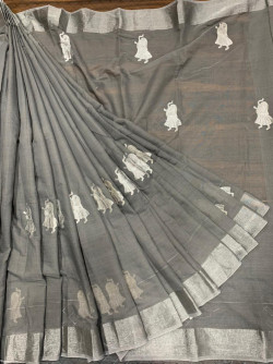 Buy Designer Gray Chanderi Sarees For Womens Online in India| Ethnicbazaar