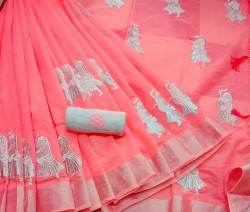 Buy Designer Peach Chanderi Sarees For Womens Online in India| Ethnicbazaar