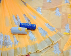 Buy Designer Yellow Chanderi Sarees For Womens Online in India| Ethnicbazaar