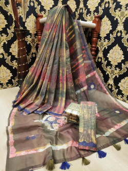 Buy Designer GrayLINEN SILK Sarees For Womens Online in India| Ethnicbazaar