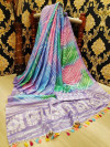 Buy Designer Blue Linen Jute Sarees For Womens Online in India| Ethnicbazaar