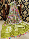 Buy Designer Green Linen Jute Sarees For Womens Online in India| Ethnicbazaar