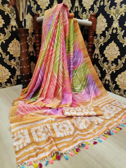Buy Designer Peach Linen Jute Sarees For Womens Online in India| Ethnicbazaar